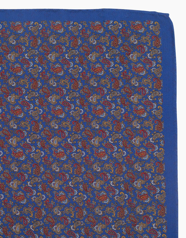 Blue paisley & geometric double sided silk pocket square