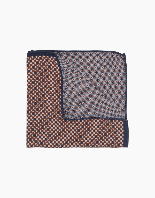 Brown geometric & dot double sided silk pocket square