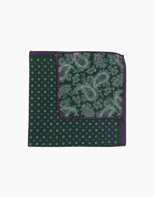 Green paisley & floral double sided silk pocket square