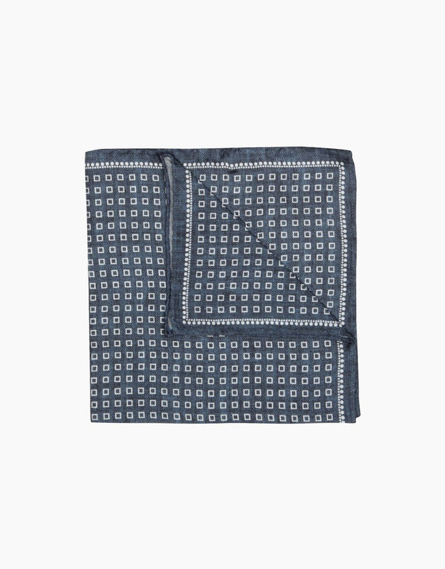 Indigo geometric silk pocket square