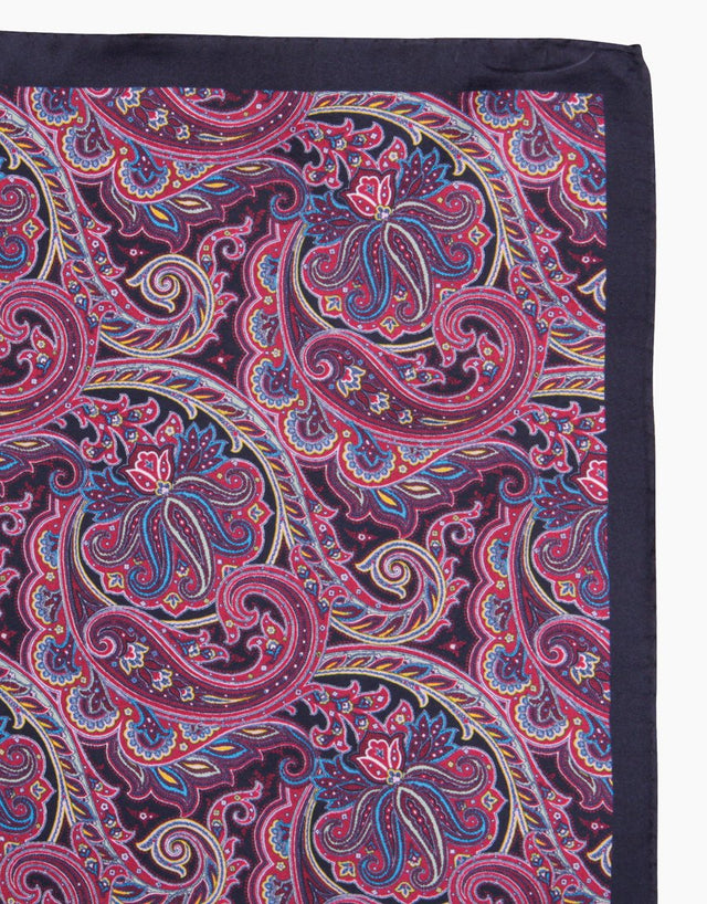 Purple paisley silk pocket square