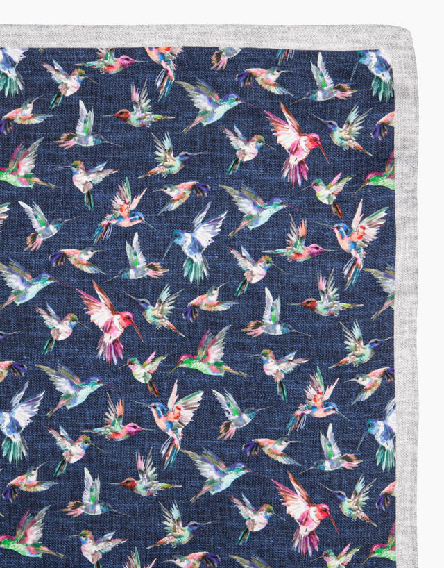 Blue hummingbird silk pocket square