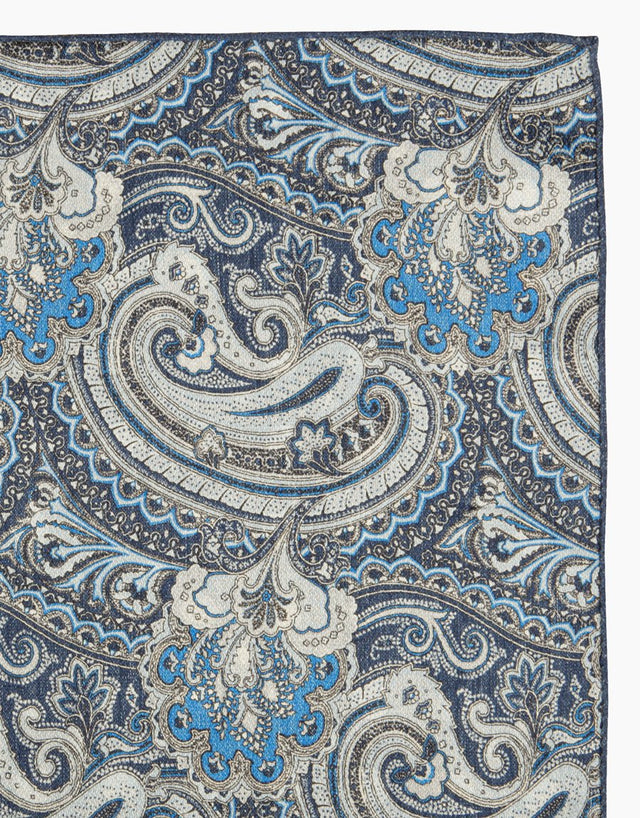 Indigo paisley and dot double sided silk pocket square