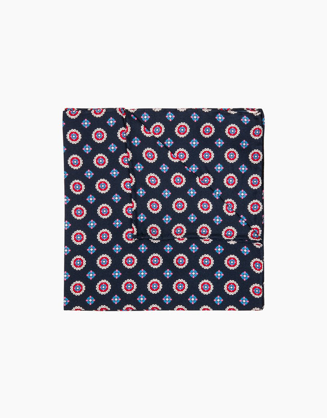 Navy floral dot silk pocket square