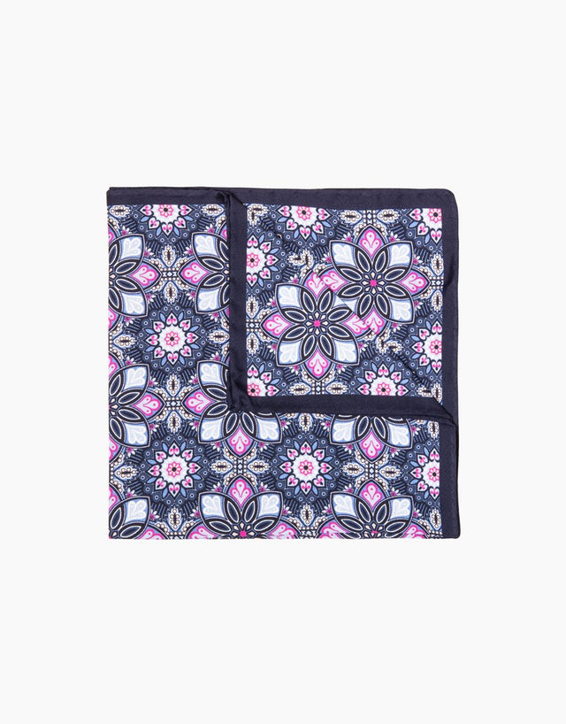 Navy floral silk pocket square