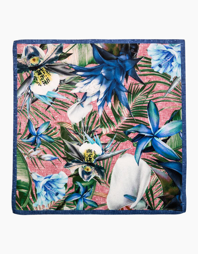Pink & blue floral silk pocket square