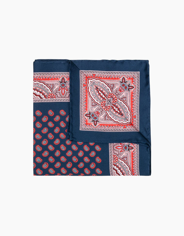 Red & navy paisley silk pocket square
