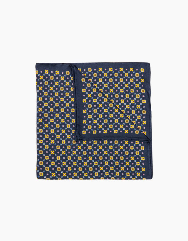 Navy & yellow floral silk pocket square