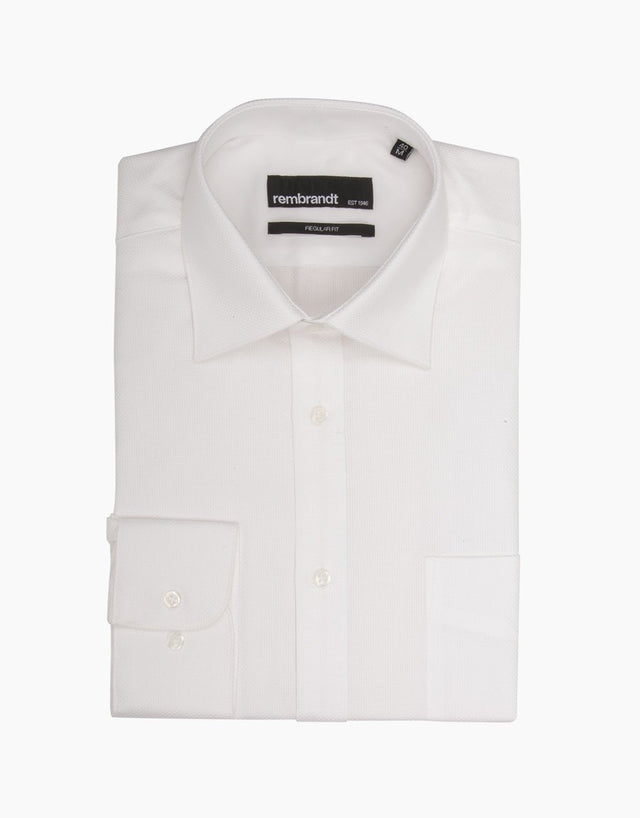 Sinatra White Textured Business Shirt