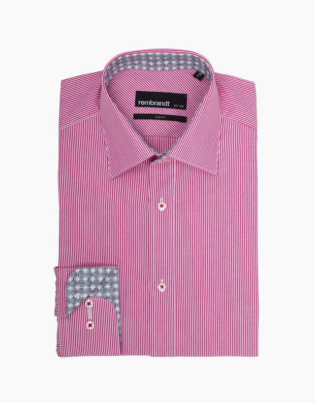 Barbican Rasberry Stripe Smart Casual Shirt