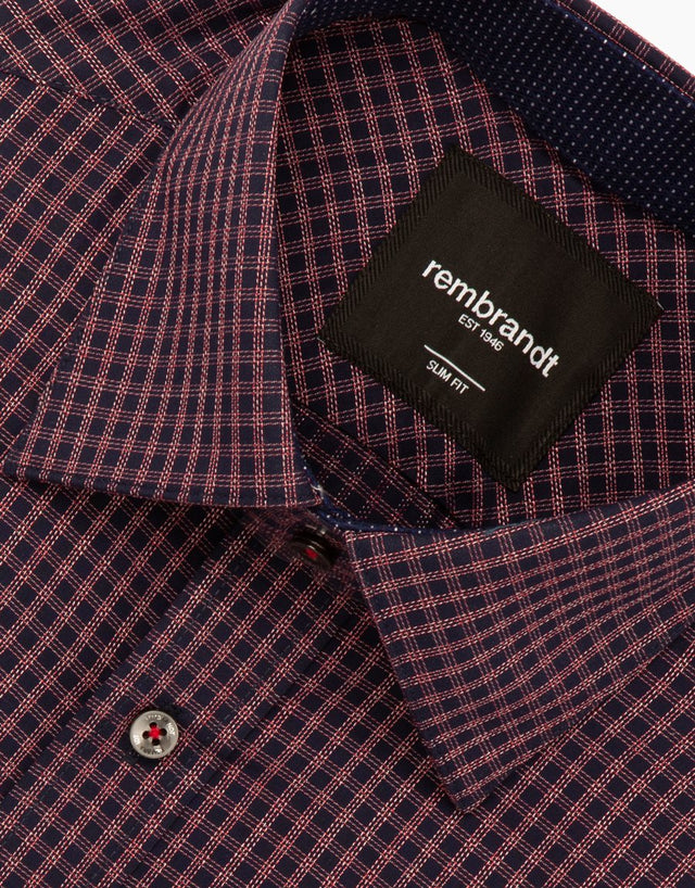 Barbican navy & red check shirt