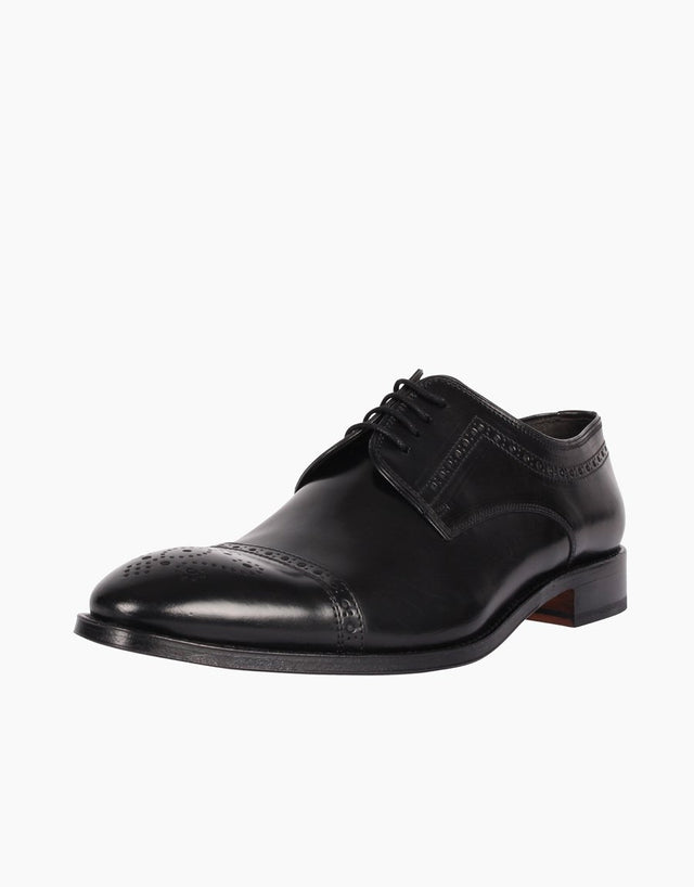 Derby Black semibrogue leather shoe
