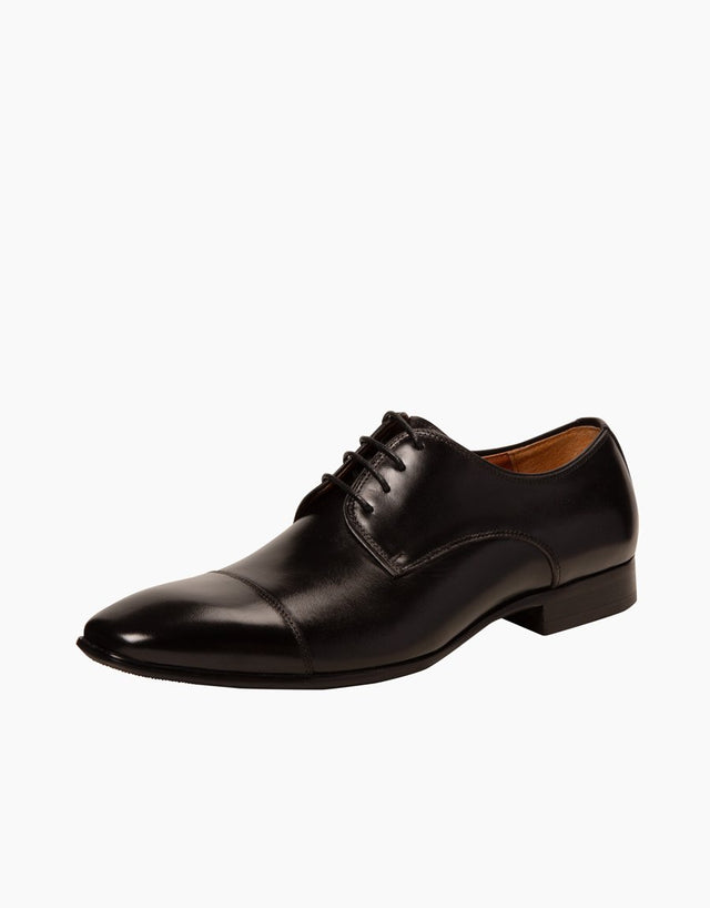 Black Athens leather cap-toe Shoe