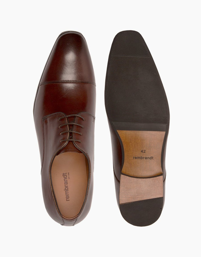 Chocolate Athens leather cap-toe Shoe