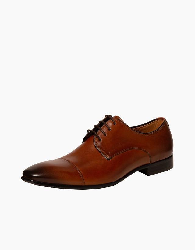 Tan Athens leather cap-toe Shoe