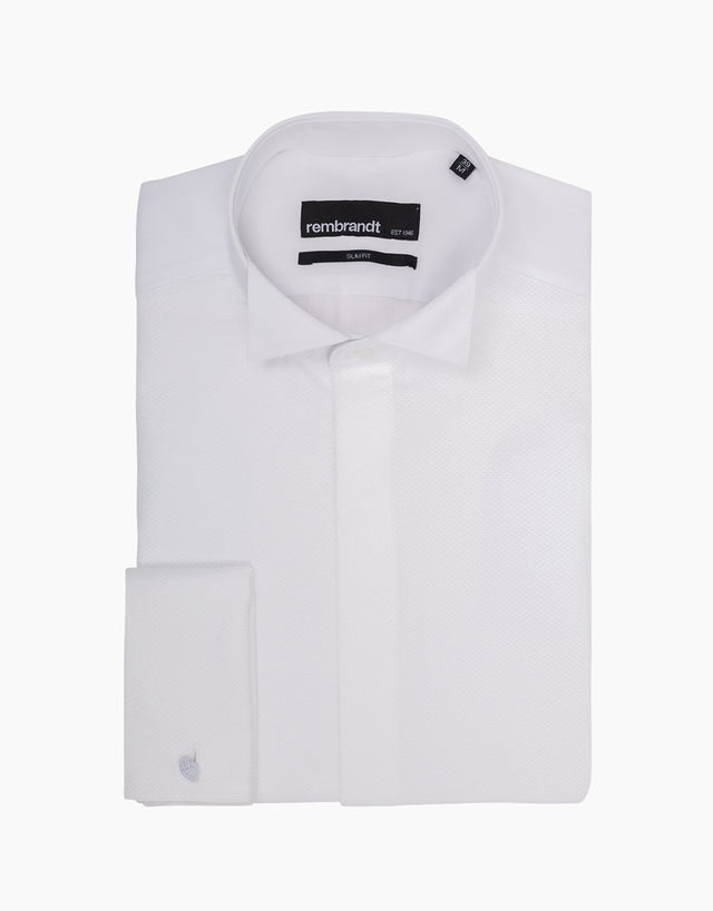 Strand White Twill Formal Shirt with Marcella Bib and Cuffs