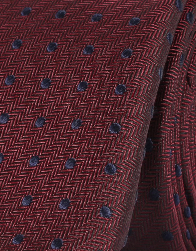Maroon Herringbone with Navy Polka Dot Silk Tie