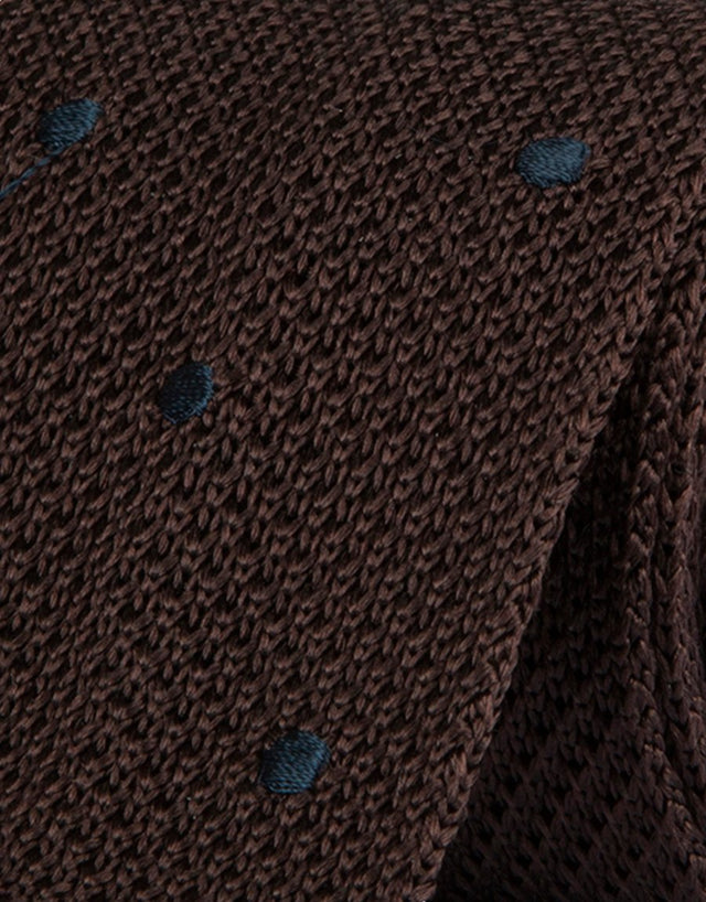 Chocolate Polka Dot Knitted Silk Tie