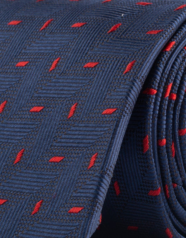 Blue & red herringbone silk tie