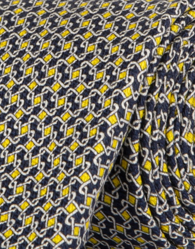 Yellow & navy geometric silk tie