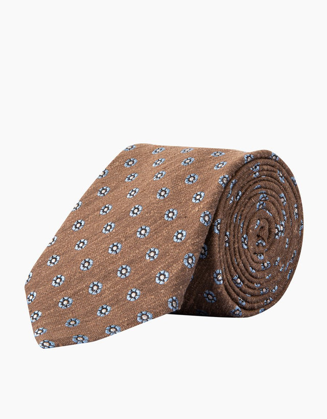 Brown dot silk tie