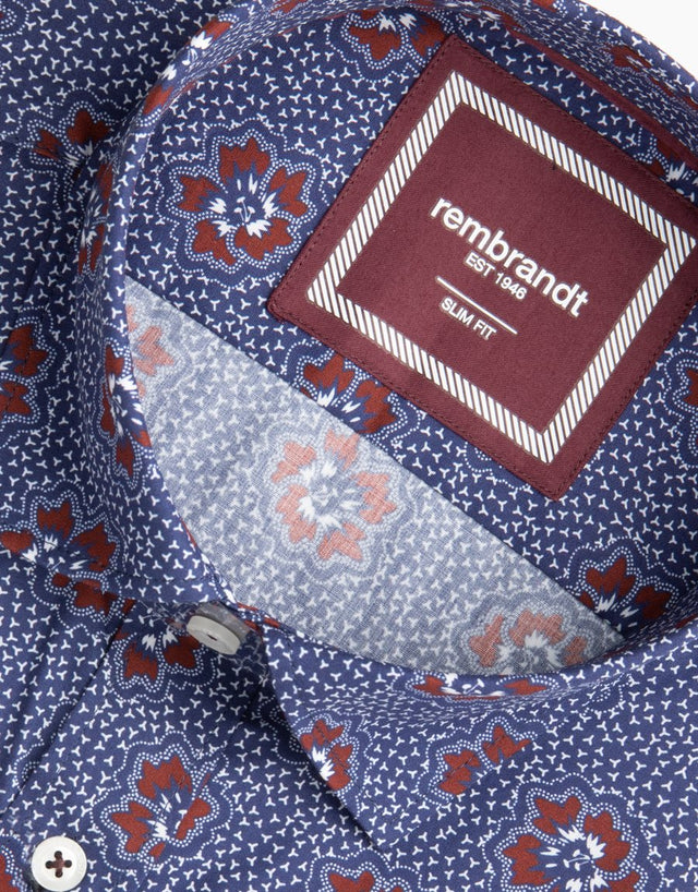 Alfred Navy Floral Dress Shirt