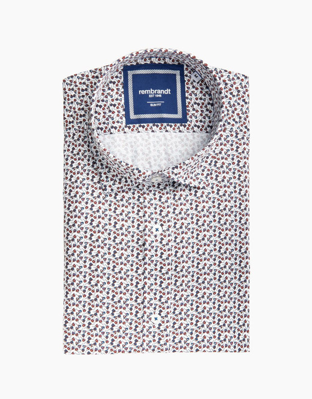 Alfred Red & Blue Floral Dress Shirt