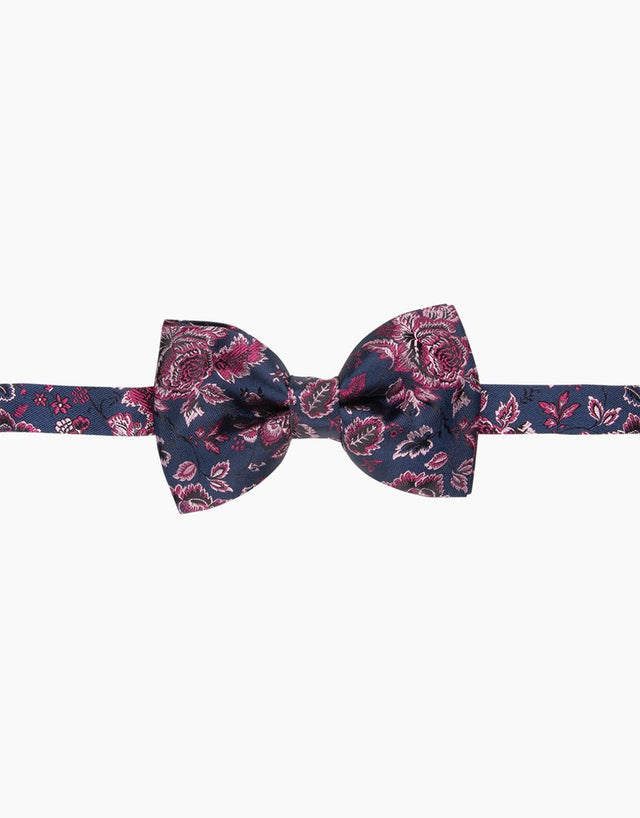 Navy & Pink Floral Silk Bow Tie