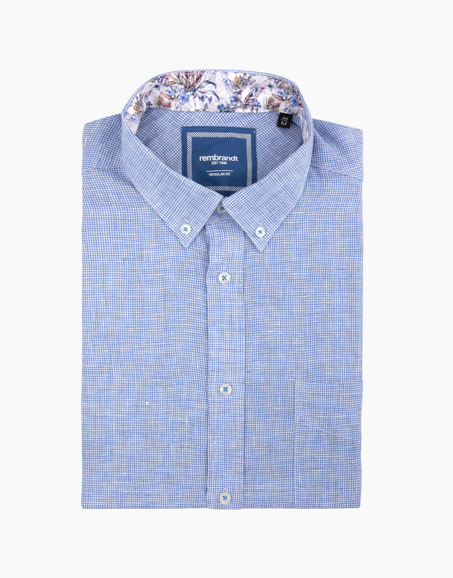 Awaroa Blue Linen Dogtooth Shirt