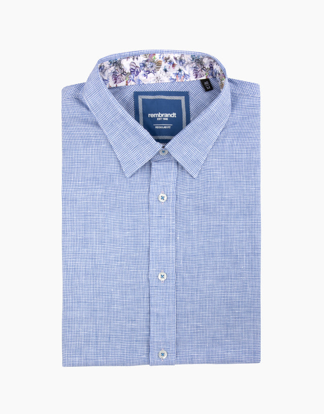 Raglan Blue Linen Dogtooth Short Sleeve Shirt