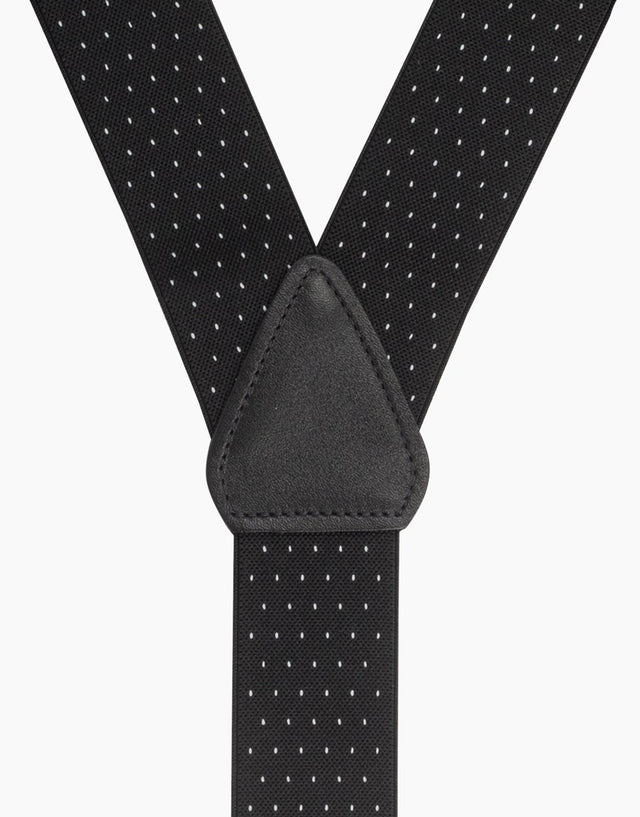 Black & White Pindot Suspender Braces Clip End