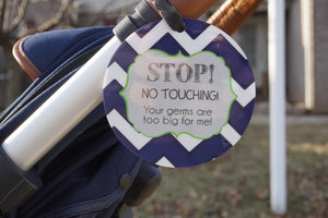 Newborn baby boy seahawk car seat sign to not touch baby stroller