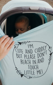 Light Blue Car Seat 5 in 1  Cover  – I'm Cute & Cuddly But Please Don't Touch Little Me
