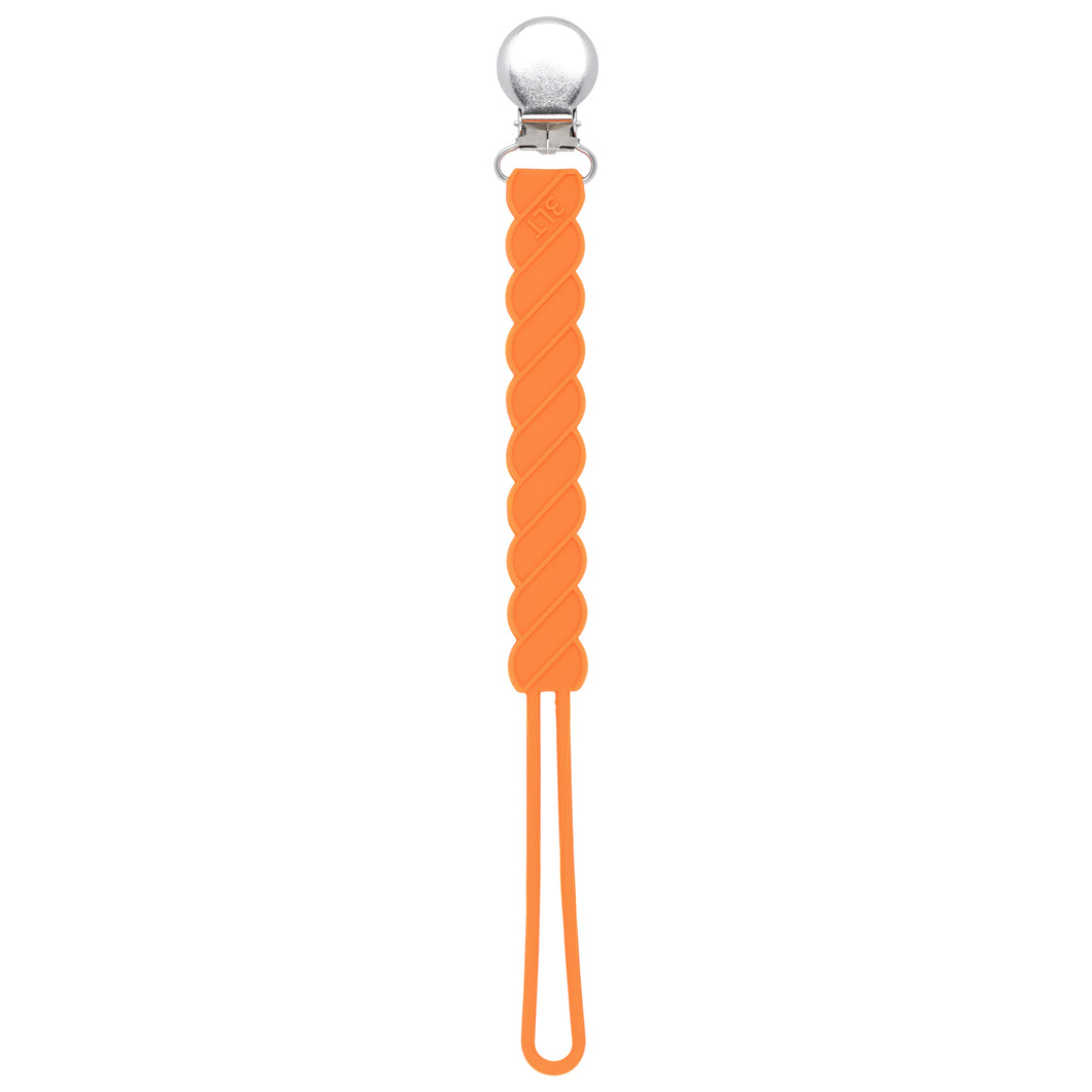 Twist Orange Silicone Pacifier Clip
