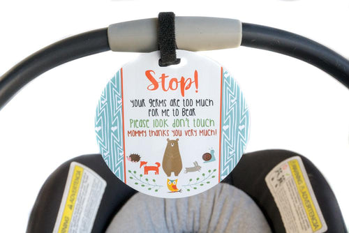 Tags 4 Tots Newborn baby boy woodlands car seat sign to not touch baby stroller
