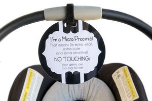 Micro Preemie Gift No Touching Car Seat Sign