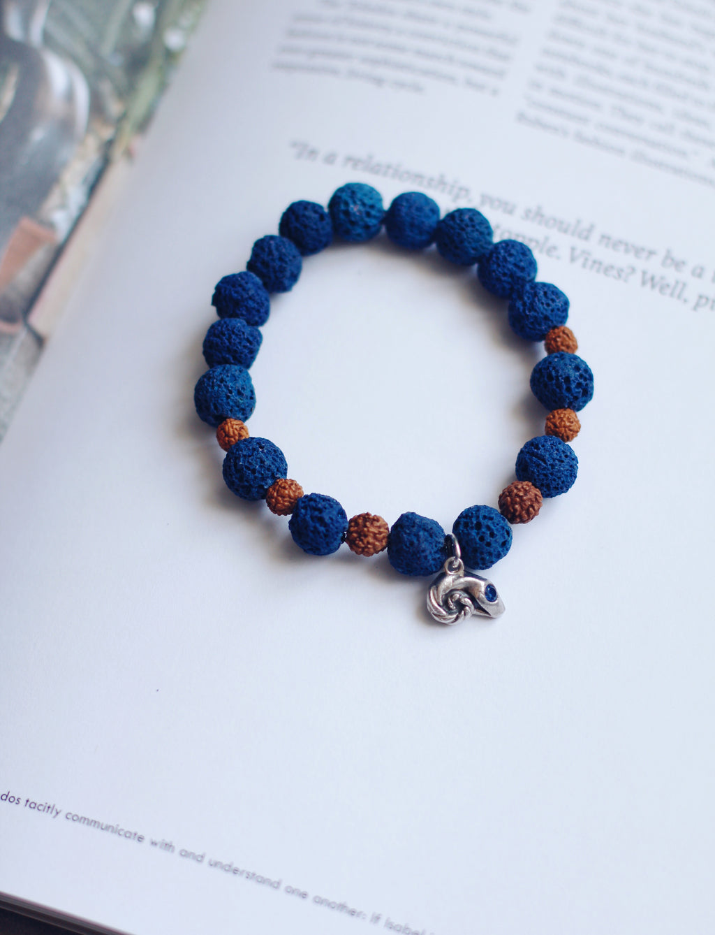 Blue Lava and Silver Bead Stretch Bracelet