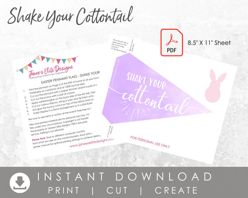 Shake Your Cottontail Easter Pennant Flag Printable
