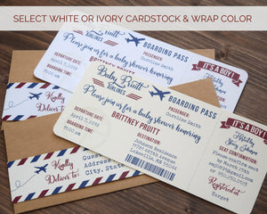 Vintage Airmail Boarding Pass Airplane Baby Shower Invitation