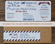 Load image into Gallery viewer, Airplane Baby Shower Boarding Pass Invitation Boy