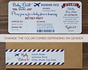 Airplane Baby Shower Boarding Pass Invitation Boy