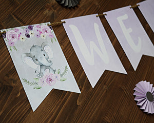 Baby Shower Elephant Girl Banner