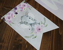 Load image into Gallery viewer, Baby Shower Little Peanut Purple Gray Banner