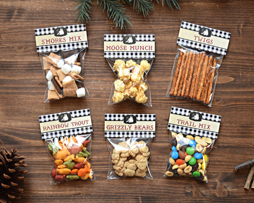 Camping Party Favors Bag Toppers