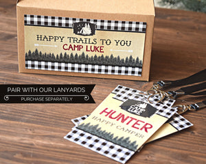 Camping Party Favors Lanyards Buffalo Plaid