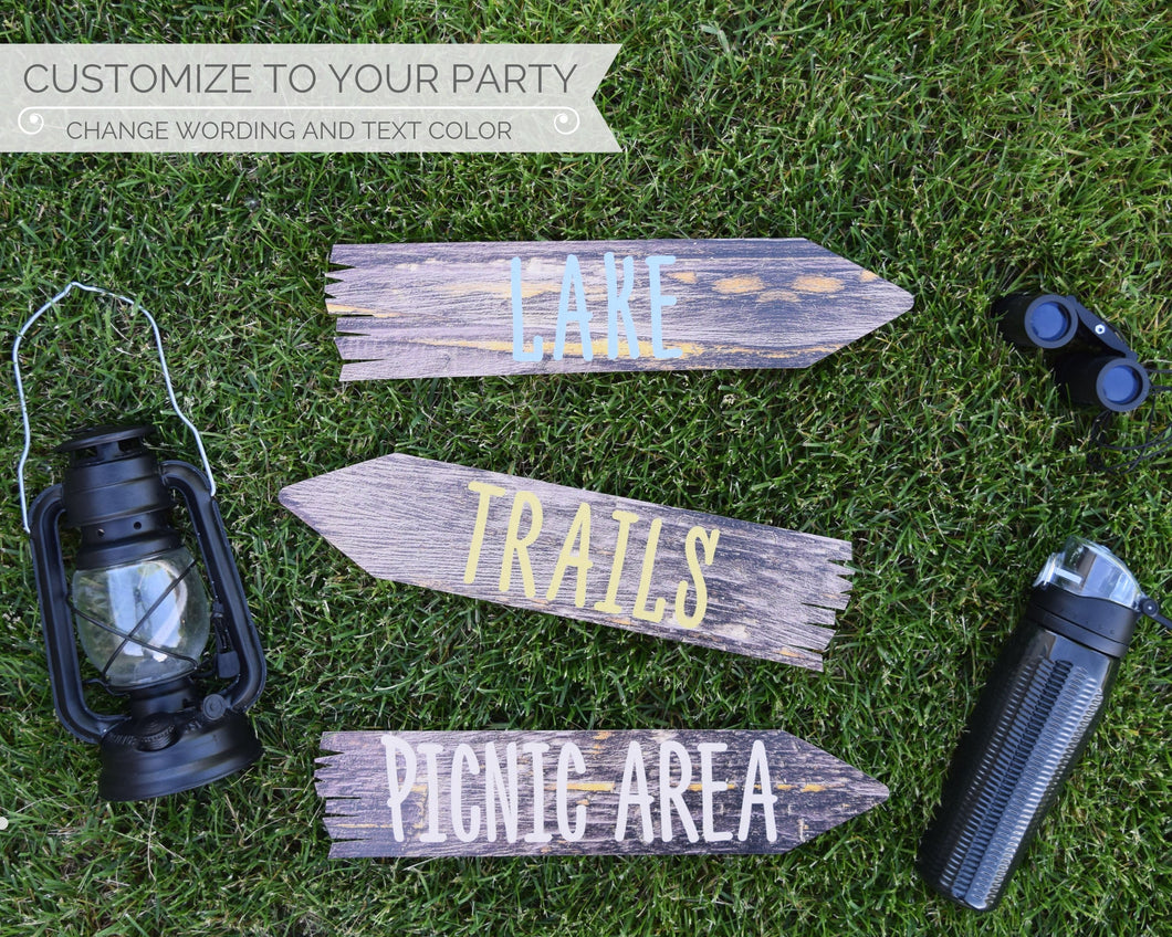 Camping Party Directional Arrow Signs