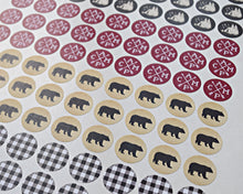 Load image into Gallery viewer, Camping Stickers Bear Buffalo Plaid
