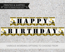 Load image into Gallery viewer, Construction Birthday Party Banner