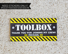 Load image into Gallery viewer, Construction Birthday Party Toolbox Sticker