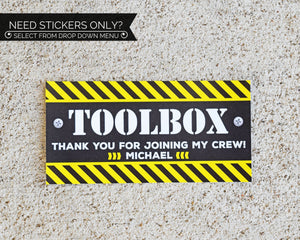 Construction Birthday Party Toolbox Sticker